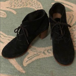 Toms Suede Black High-heeled Booties
